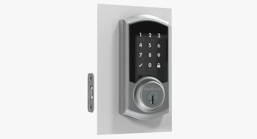 Touchscreen Smart Wireless Lock royalty-free 3d model - Preview no. 2