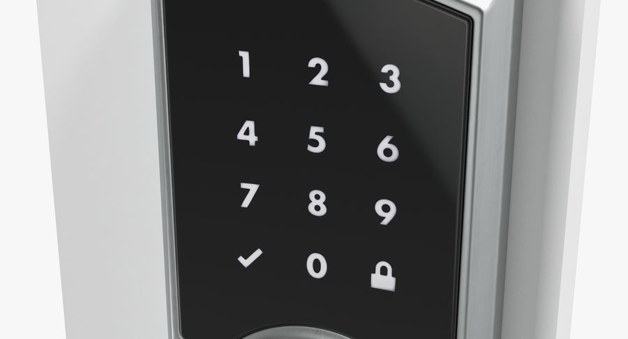 Touchscreen Smart Wireless Lock royalty-free 3d model - Preview no. 10