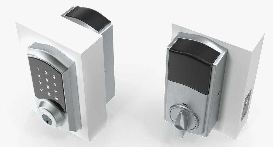 Touchscreen Smart Wireless Lock royalty-free 3d model - Preview no. 6