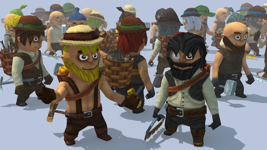Personagens de fantasia animados royalty-free 3d model - Preview no. 2
