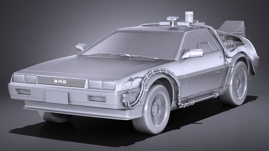 LowPoly DeLorean Back To The Future ep1 royalty-free 3d model - Preview no. 10