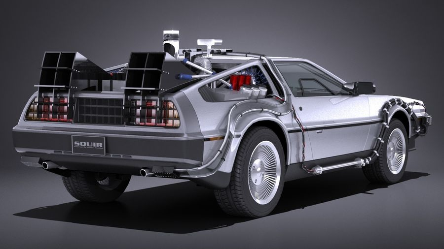 LowPoly DeLorean Back To The Future ep1 royalty-free 3d model - Preview no. 6