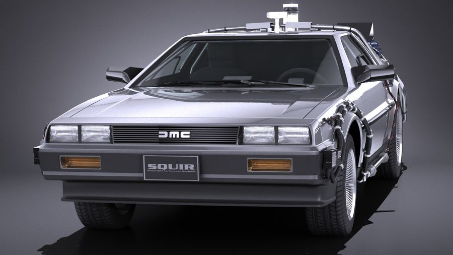 LowPoly DeLorean Back To The Future ep1 royalty-free 3d model - Preview no. 2