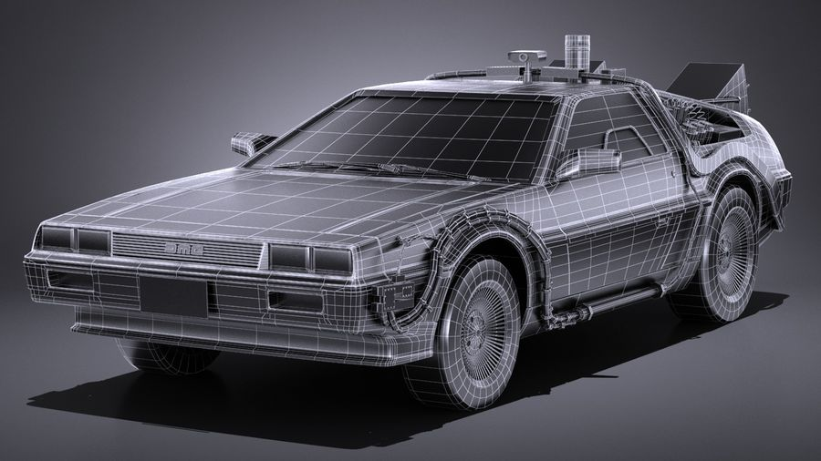 LowPoly DeLorean Back To The Future ep1 royalty-free 3d model - Preview no. 14