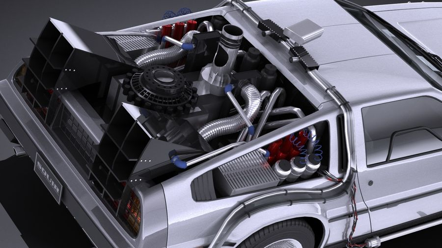LowPoly DeLorean Back To The Future ep1 royalty-free 3d model - Preview no. 9
