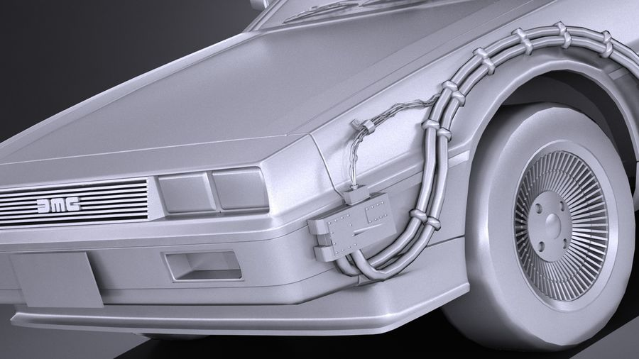 LowPoly DeLorean Back To The Future ep1 royalty-free 3d model - Preview no. 11