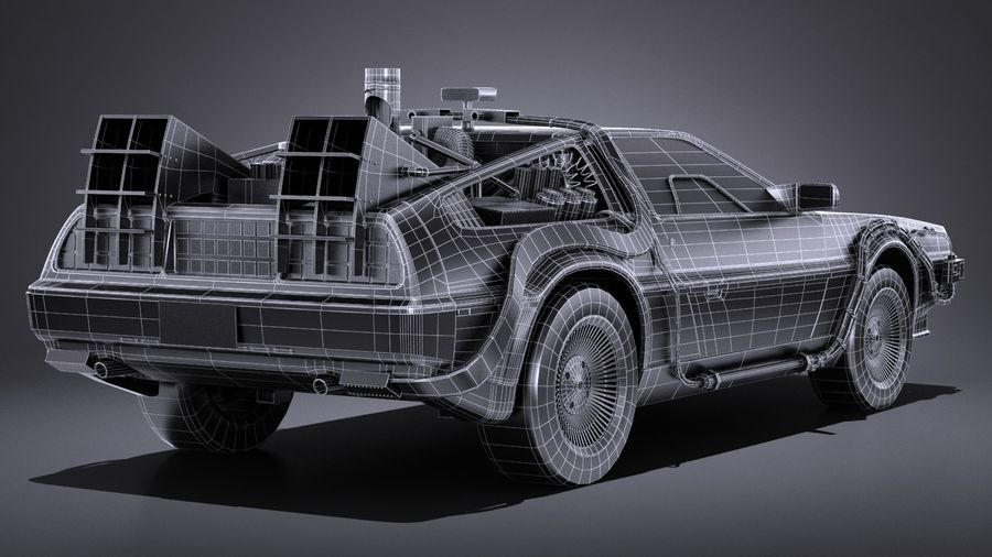 LowPoly DeLorean Back To The Future ep1 royalty-free 3d model - Preview no. 17