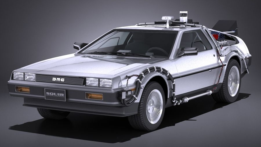 LowPoly DeLorean Back To The Future ep1 royalty-free 3d model - Preview no. 1