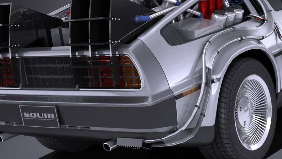 LowPoly DeLorean Back To The Future ep1 royalty-free 3d model - Preview no. 4