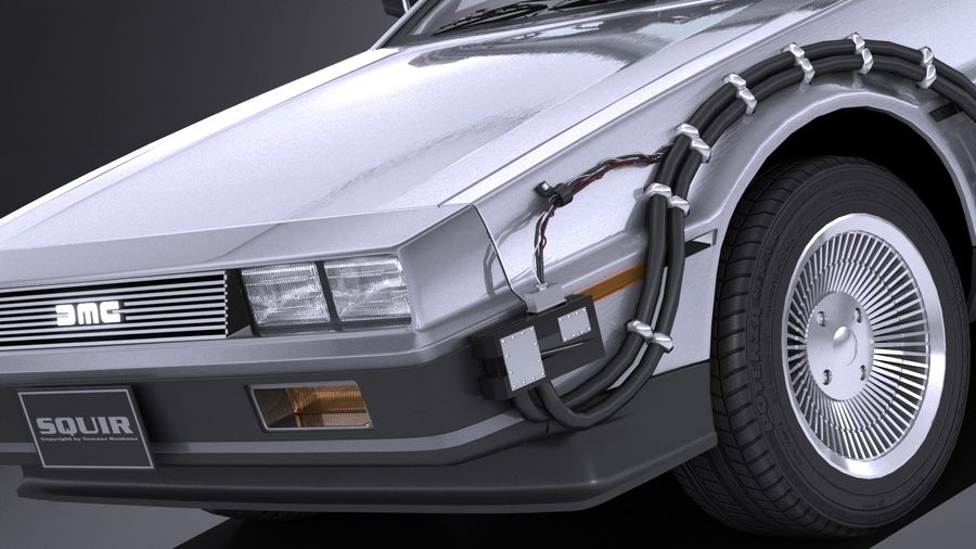 LowPoly DeLorean Back To The Future ep1 royalty-free 3d model - Preview no. 3
