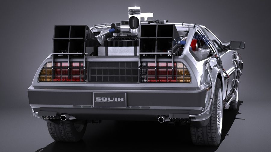 LowPoly DeLorean Back To The Future ep1 royalty-free 3d model - Preview no. 5