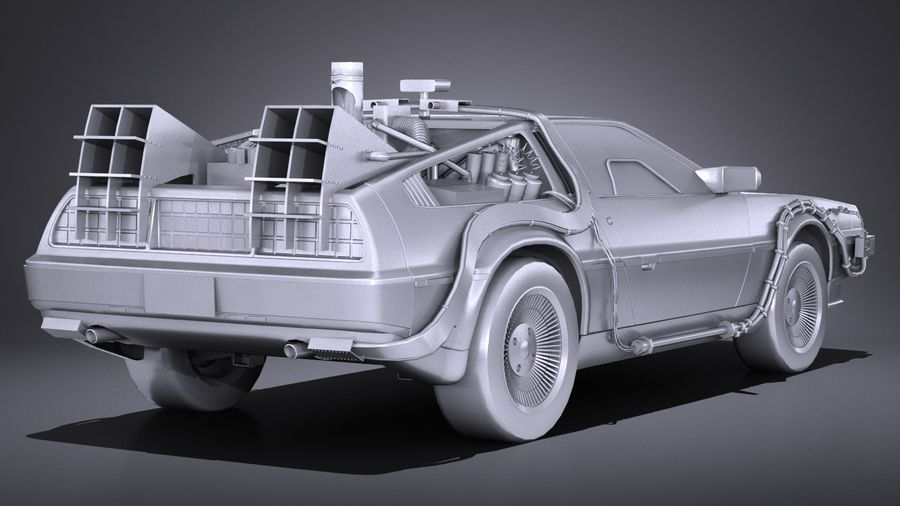 LowPoly DeLorean Back To The Future ep1 royalty-free 3d model - Preview no. 13