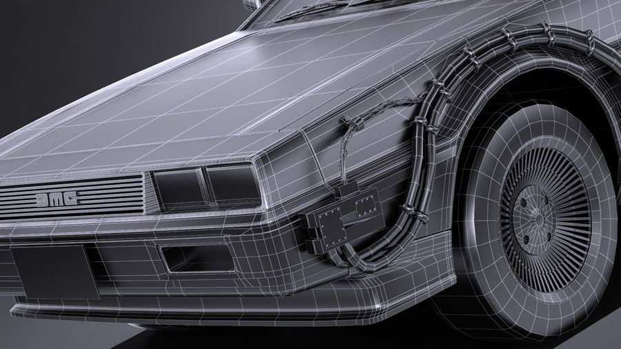 LowPoly DeLorean Back To The Future ep1 royalty-free 3d model - Preview no. 15