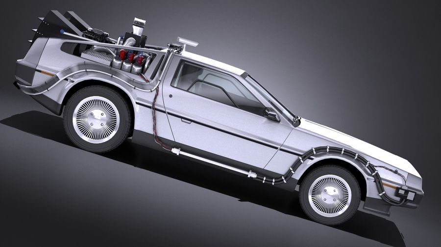LowPoly DeLorean Back To The Future ep1 royalty-free 3d model - Preview no. 7