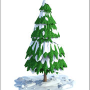 雪常绿树 3d model