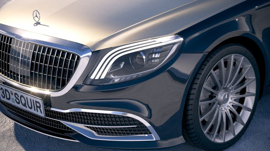 Mercedes Maybach 2019 royalty-free 3d model - Preview no. 3
