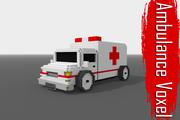 Voxel Ambulance Low Poly 3d model