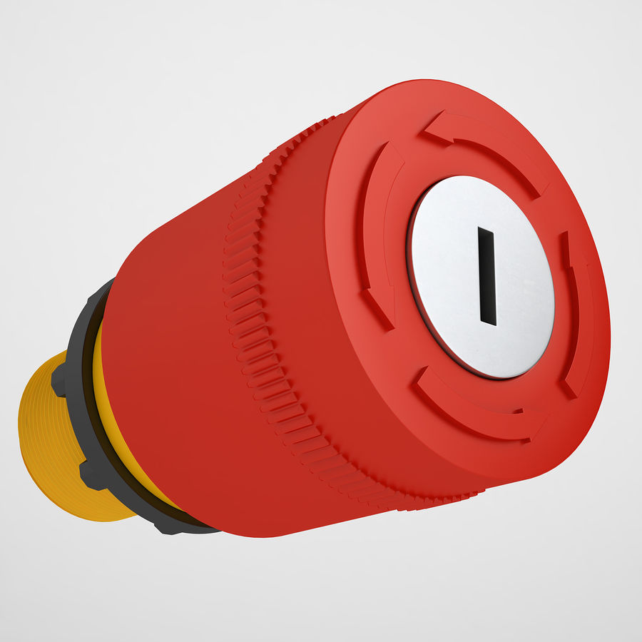 Emergency Stop Key Reset 03 royalty-free 3d model - Preview no. 2