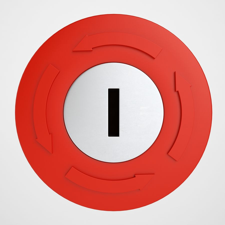 Emergency Stop Key Reset 03 royalty-free 3d model - Preview no. 5