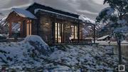Дом у горного озера 3d model