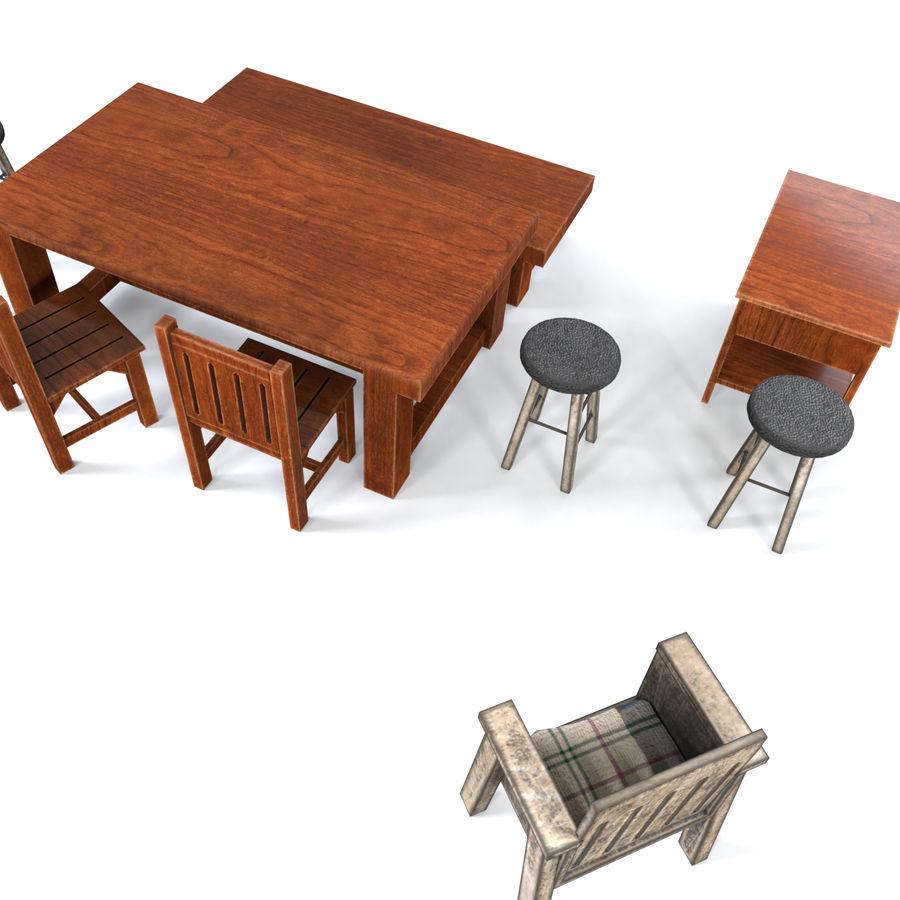 Collection de meubles en bois royalty-free 3d model - Preview no. 4