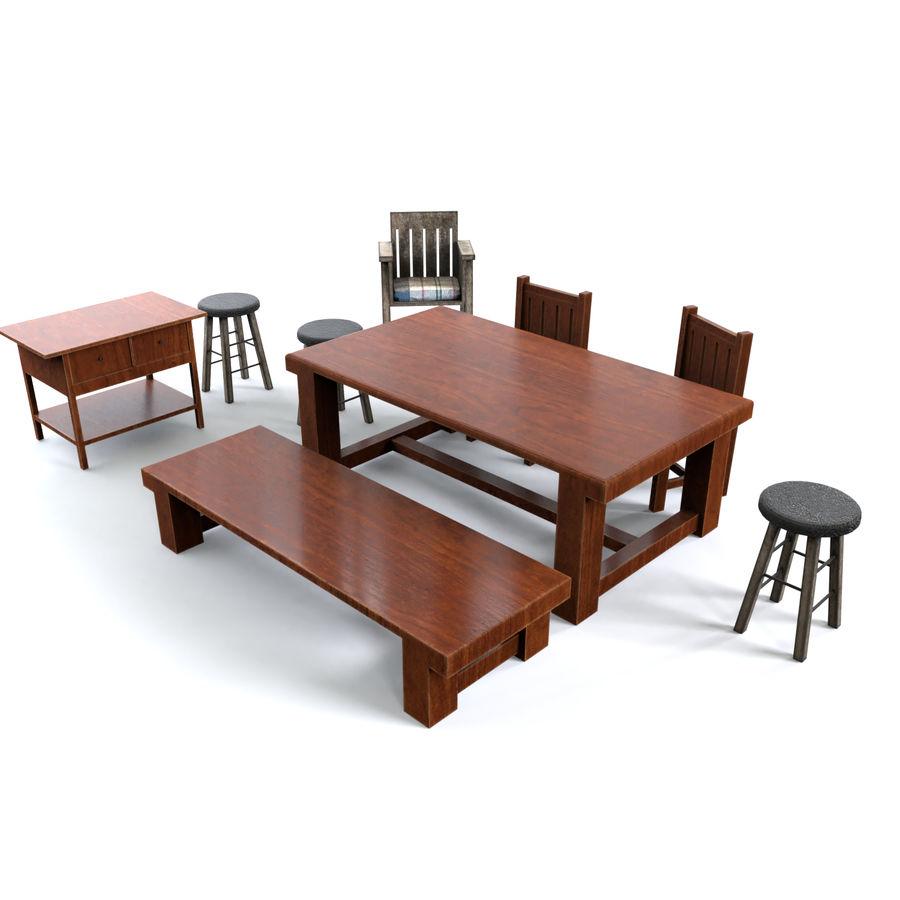 Collection de meubles en bois royalty-free 3d model - Preview no. 1