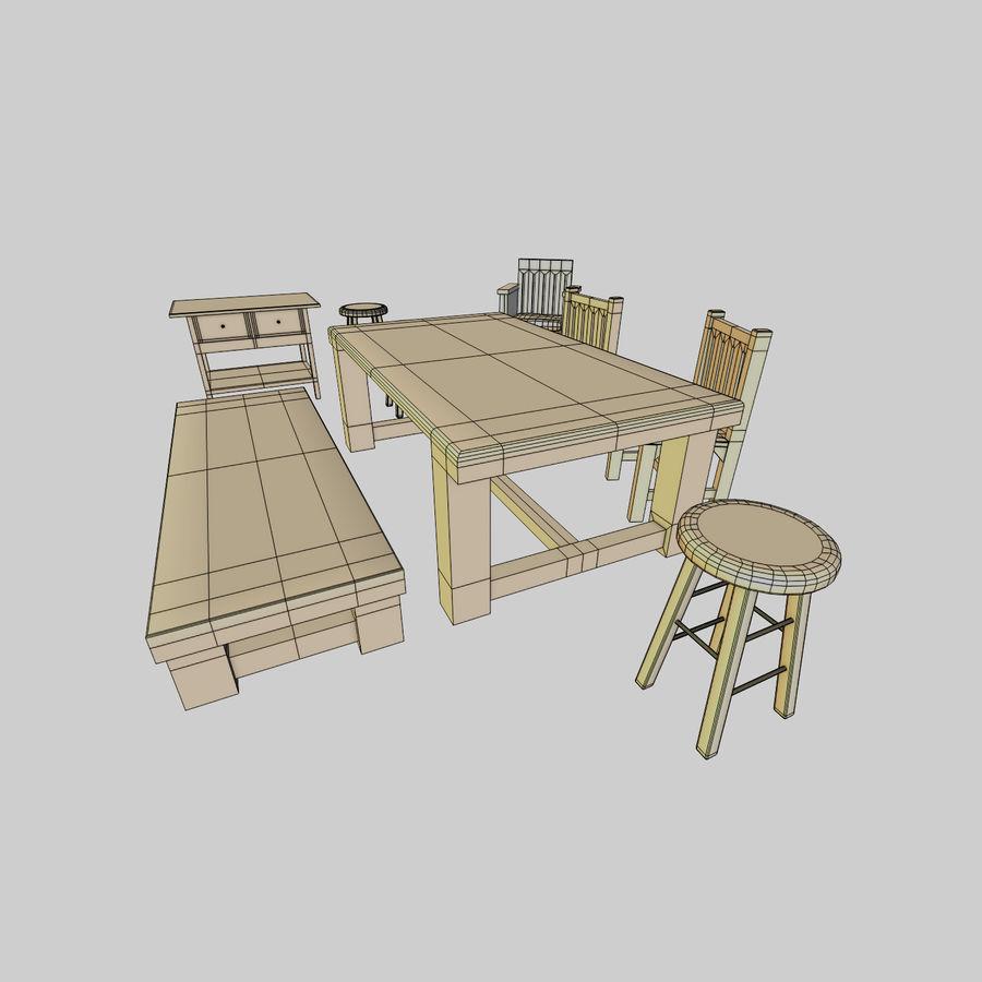 Collection de meubles en bois royalty-free 3d model - Preview no. 7