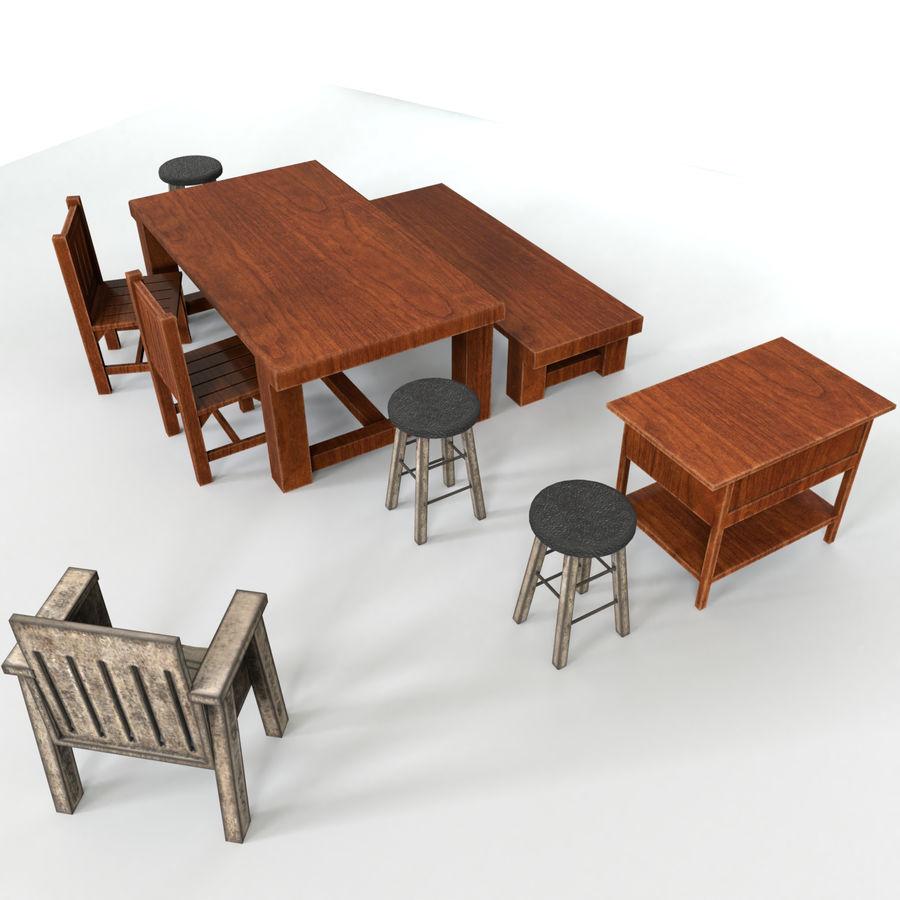 Collection de meubles en bois royalty-free 3d model - Preview no. 3