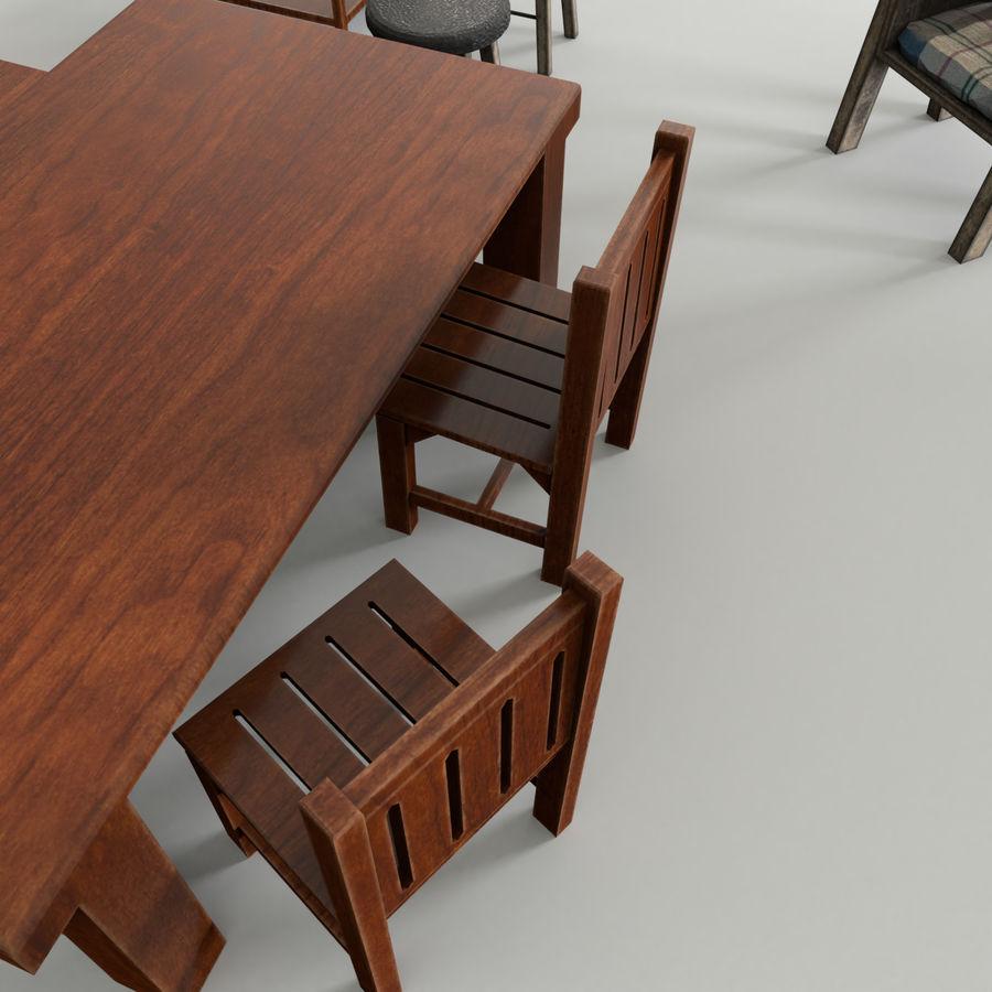 Collection de meubles en bois royalty-free 3d model - Preview no. 2