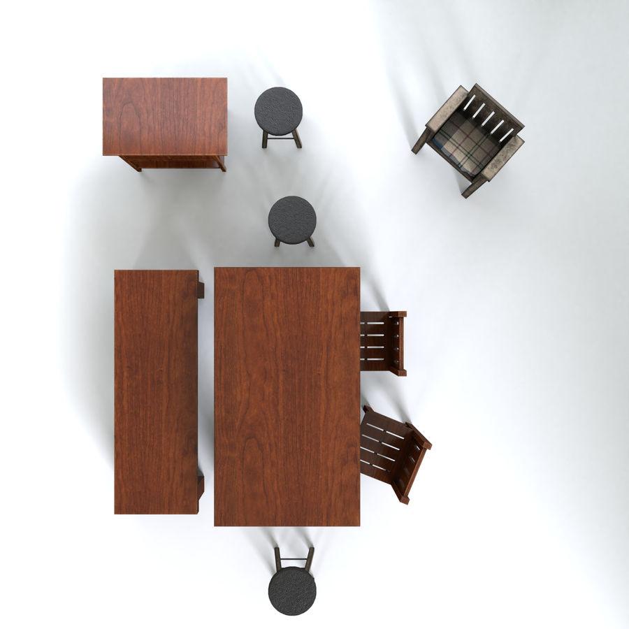 Collection de meubles en bois royalty-free 3d model - Preview no. 5