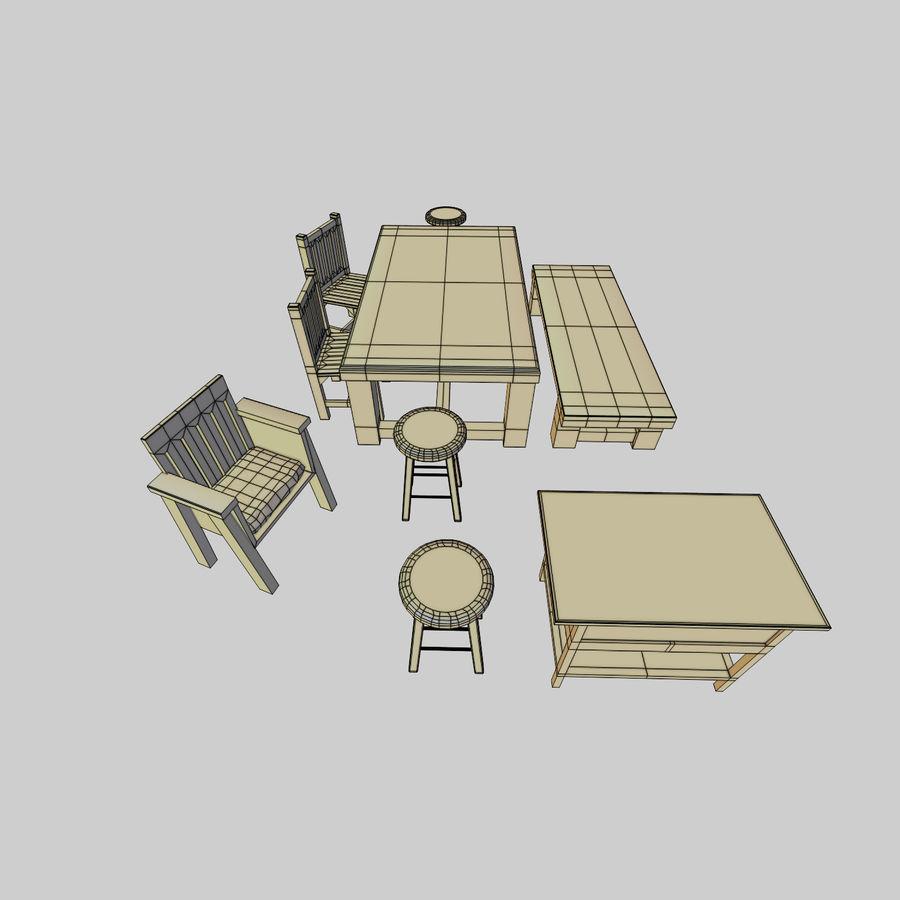 Collection de meubles en bois royalty-free 3d model - Preview no. 8