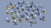 33 geanimeerde skeletten set 3d model