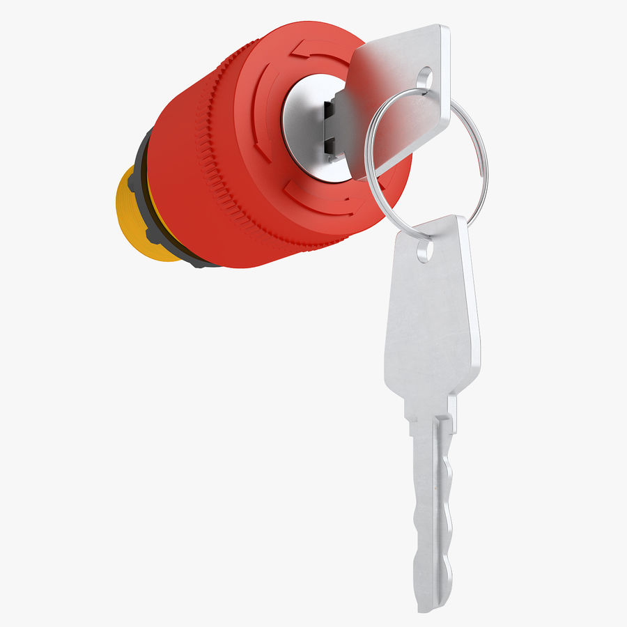 Emergency Stop Key Reset 01 royalty-free 3d model - Preview no. 1