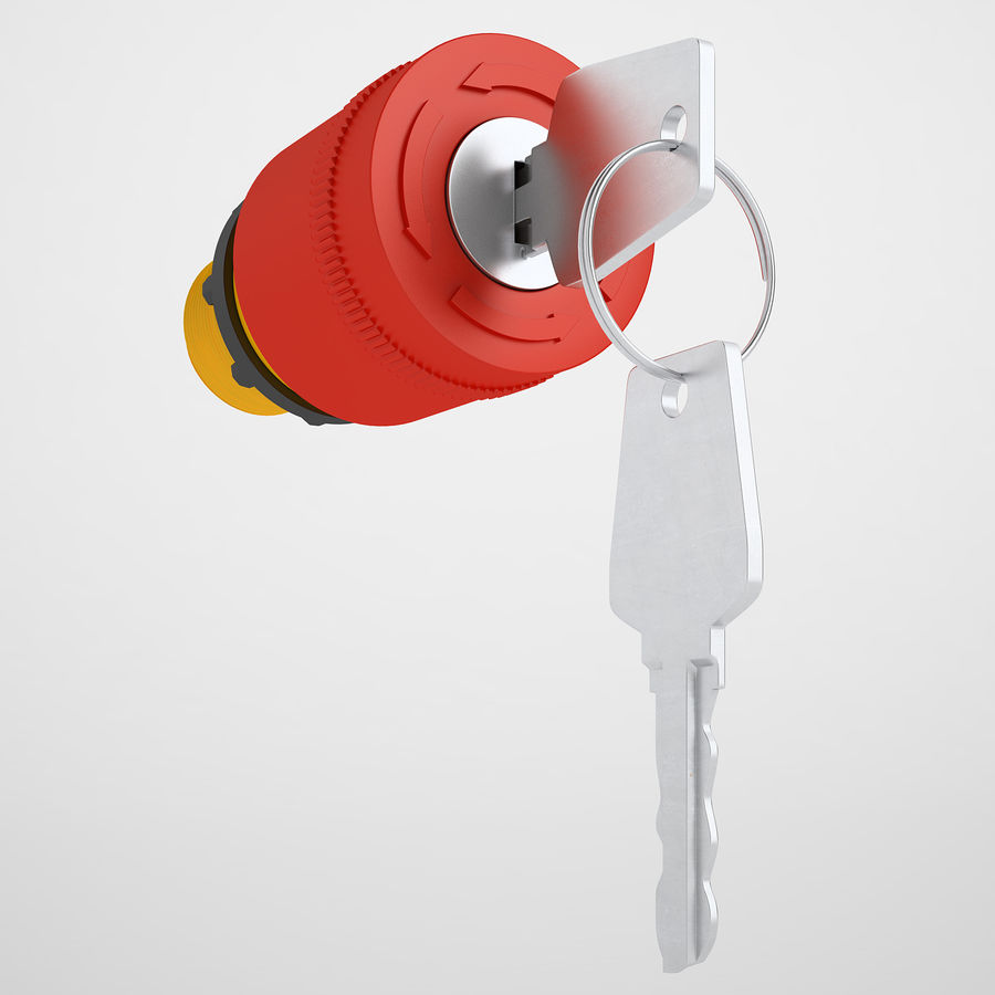 Emergency Stop Key Reset 01 royalty-free 3d model - Preview no. 2