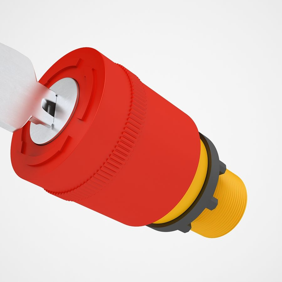 Emergency Stop Key Reset 01 royalty-free 3d model - Preview no. 11