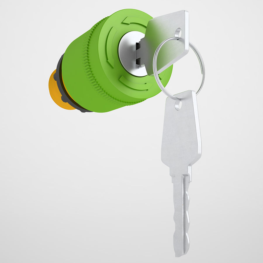 Emergency Stop Key Reset 02 royalty-free 3d model - Preview no. 2