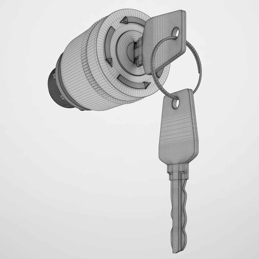 Emergency Stop Key Reset 02 royalty-free 3d model - Preview no. 3