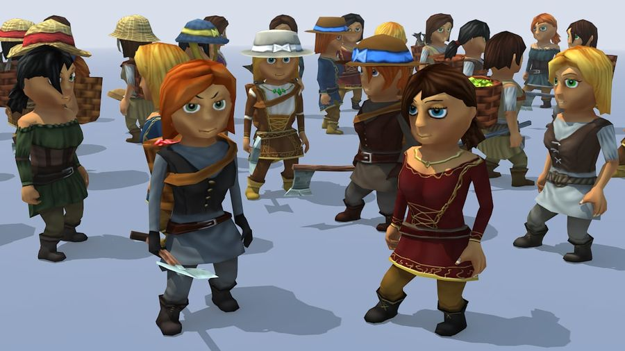 Animated Fantasy Female Characters royalty-free 3d model - Preview no. 2