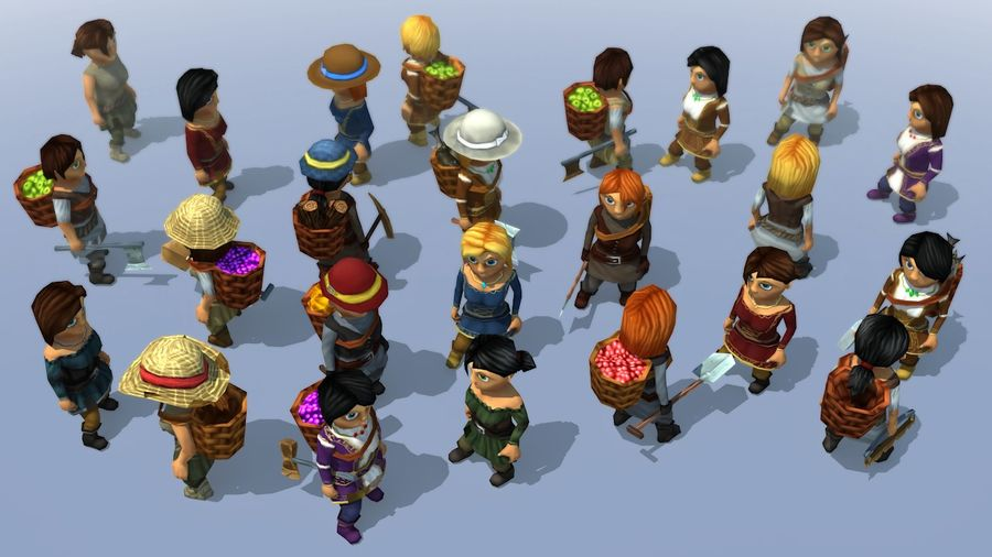 Animated Fantasy Female Characters royalty-free 3d model - Preview no. 1