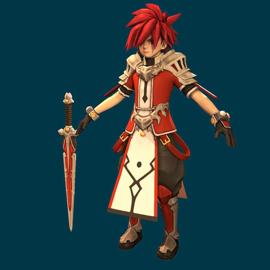 Anime Game Char full Project royalty-free 3d model - Preview no. 3