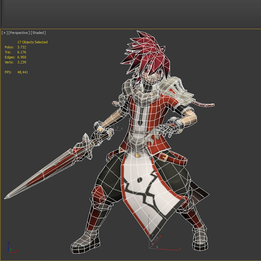 Anime Game Char full Project royalty-free 3d model - Preview no. 17