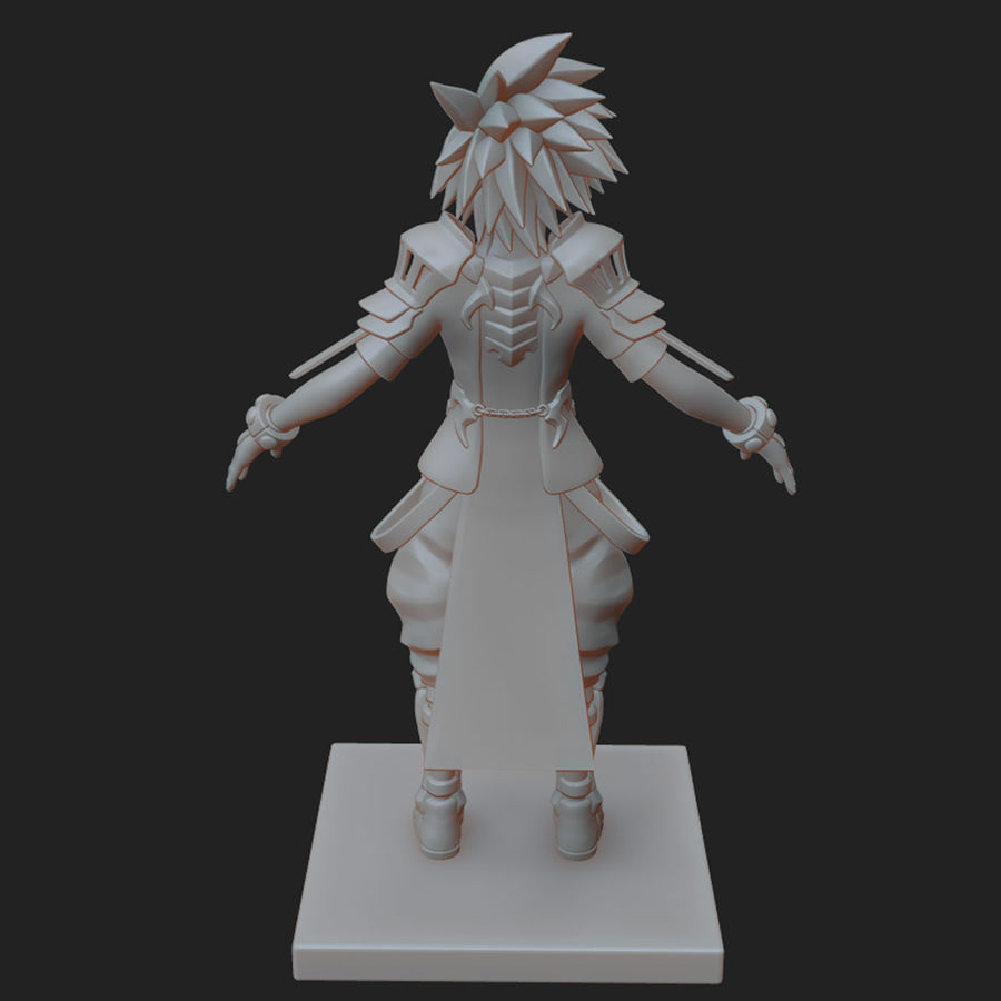 Anime Game Char full Project royalty-free 3d model - Preview no. 13