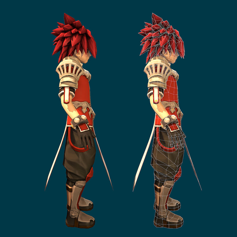 Anime Game Char full Project royalty-free 3d model - Preview no. 7