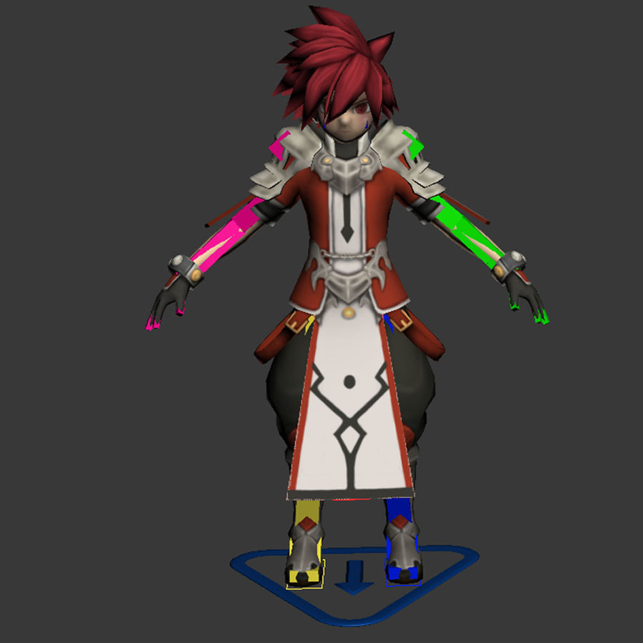 Anime Game Char full Project royalty-free 3d model - Preview no. 16