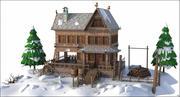 Winter Western House 3d model