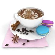Coffee and macaroon 3d model
