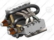V6 엔진 3d model