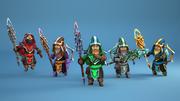 Set eroe mago animato 3d model