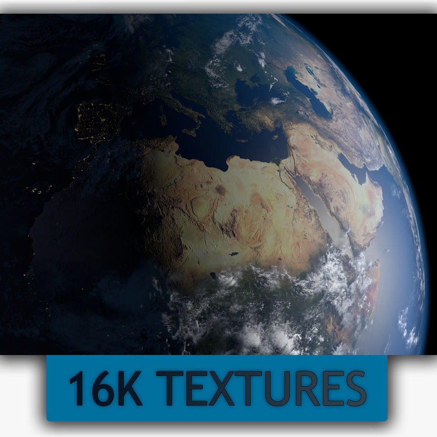 16k Planet Earth - Day & Night royalty-free 3d model - Preview no. 1