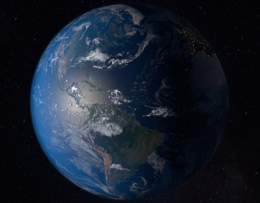 16k Planet Earth - Day & Night royalty-free 3d model - Preview no. 4